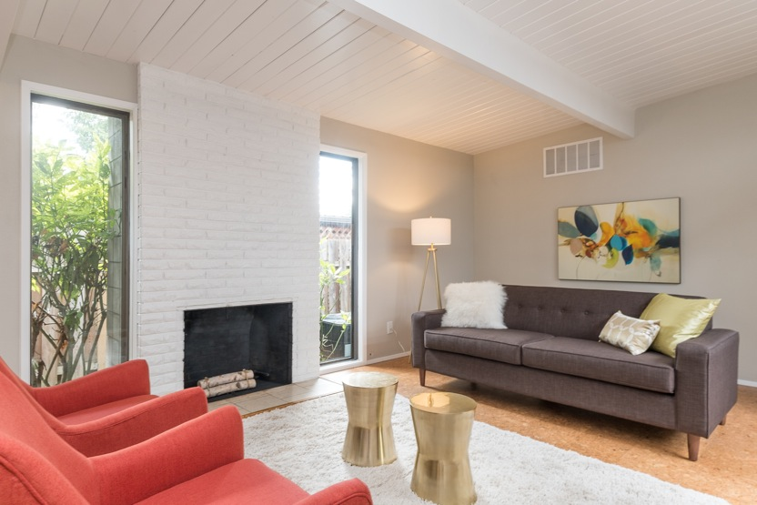 Mid Century Rummer living room challenged by lack of natural light