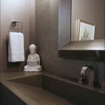 Powder Bathroom w/recylce glass walls and concrete sink