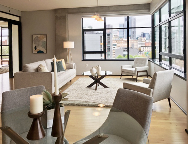 Defining the space for the dining area in the Elizabeth Loft