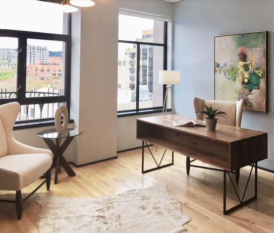 Elizabeth Loft defining the space in the office