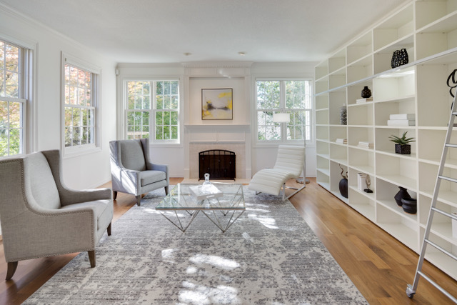 Portland's Forest Heights library home staging with a contemporary chaise lounge
