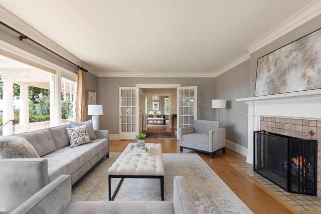 Soft greys didn't distract from the vista in this West Hills 1920's Colonial