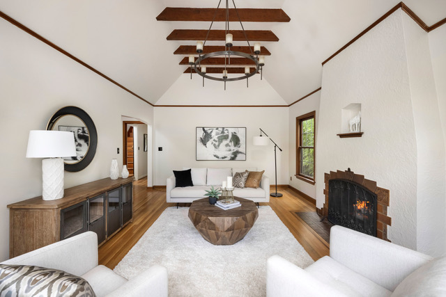 The Moody English home staging blended industrial with the original features of the home