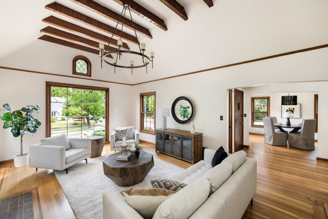 The leaded glass windows featured in home staging of the Moody English