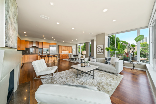 Staging the Strand Condo with low-profile pieces to enhance the view