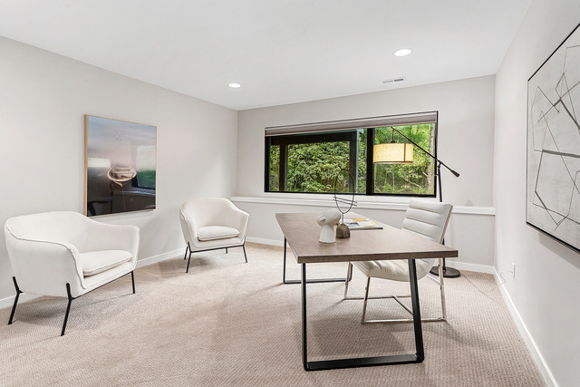 The fourth bedroom became a work from home space in this naturally contemporary home staging