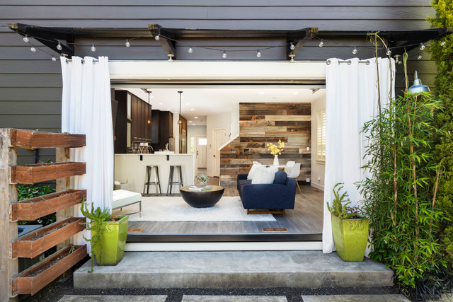 The garage-type door tied the indoors to the outdoors seamlessly
